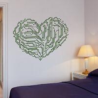 Vinyl Decal Heart Chip Computer Geek Engineer Wall Stickers Mural (122ig)