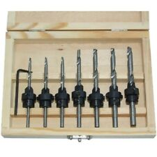 Countersink Drill Bit 22pc Set w/Case Adjustable Depth Stop Collars Woodworking