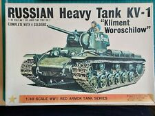 BANDAI RUSSIAN HEAVY TANK KV-1 WITH 4 SOLDIERS 1/48 SCALE MODEL KIT.