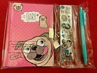 Kids Pug Dog Secret Diary Set Notebook Padlock Key Stickers Pen Pocket Money Toy