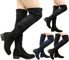 Ladies Women Stretch Lace Up Low Heels Thigh High Over The Knee Boots Shoes Size
