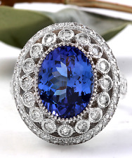 7.50 Carats NATURAL TANZANITE and DIAMOND 14K Solid White Gold Ring