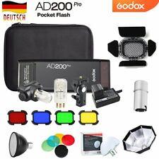 DE Godox AD200pro TTL HSS 2,4G 1/8000 Blitzgerät+AD-S Zubehör+BD-07 Barn Door