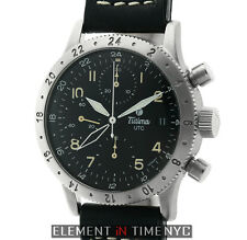 Tutima FX UTC Germany Chronograph GMT Steel 38mm Black Dial 760-01