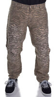 Prpgnda Men's $59.50 Beige Animal Print Camo Slim Straight Fit Pants Choose Size