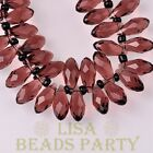 New 10pcs 16x8mm Teardrop Faceted Glass Pendant Loose Spacer Beads Fuchsia