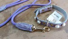 Collare cane  cuoio  con perle  + guinzaglio corda richdog made in Italy  cm.50
