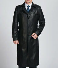 2017 mens Genuine Leather long jacket coat trench outwear overcoat parkas
