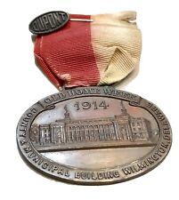 Vintage Antique 1914 DE Bronze Medal Ribbon & DuPont Sterling Silver Label Pin