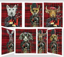 Scottish Tartan Fleece Blanket Throw huge 60 x 80 nch Cow Reindeer, Fox Hare,Ram
