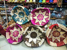 Moroccan pouffe Leather footstool various colours seating ottoman pouffet puffet