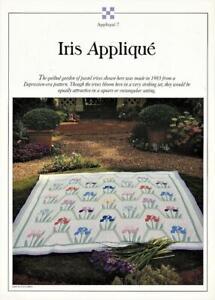 Iris Applique Best Loved  Quilt Pattern w/ Flexible Plastic Templates