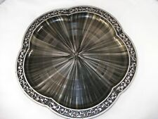 Vintage Plastic Silver and Black Decorative Tray by Rossini