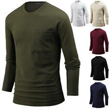 Mens Stylish Big Pocket Crew Neck Long Sleeve Tee T-shirt Tops Blouse M12 XS~3XL