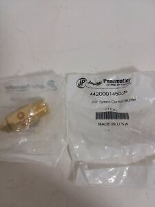 "Lot of 2  Jupiter Pneumatic Muffler Silencer Speed Control 1/4"" made in the USA"