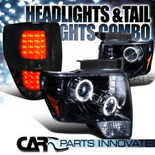 09-14 Ford F150 Glossy Black Halo Projector Headlights+Smoke LED Tail Lamps