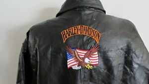 Harley Patches Leather Motorcycle Jacket  XXL
