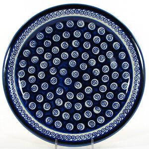 "Zaklady Boleslawiec BLUE SWIRLS 11"" Dinner Plate White Dots Polish Pottery"