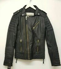 BODA SKINS Kay Michaels GOLD ZIP Black Leather Biker Jacket,Tall, UK S Small 38""