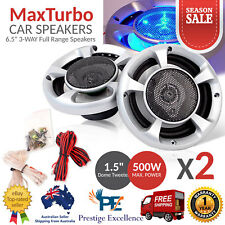 """2 MaxTurbo Car Audio Speakers 6.5"""" Inch Blue LED Light 500W 3-WAY Pair Component"""