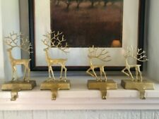 Pottery Barn Set of 4 MERRY REINDEER Gilded BRASS STOCKING HOLDERS Christmas
