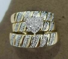 Trio Bridal Set 10k Yellow Gold Finish 2Ct His Her Diamonds Wedding Ring Bands