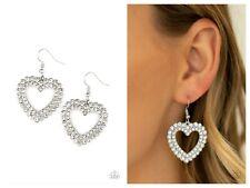 NWT! Paparazzi ~ High School Sweethearts ~ White Heart Earrings