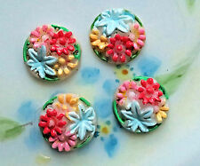 Vintage Cabochons Glass Pressed 11mm Rare Hand Painted Shabby Flowers #1029BM