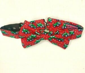 NWT VINEYARD VINES BOYS Holiday/Christmas Truck with Antlers Red Silk Bow Tie