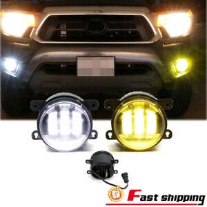 White/Yellow LED Dual Color Fog Lights Lamps Fits Honda Nissan Subaru LH&RH 2PCS