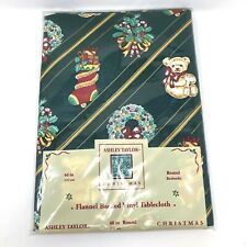 Christmas Ashley Taylor Flannel Backed Vinyl Tablecloth Stocking Wreath Toys