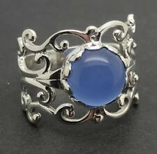 Blue chalcedony round solid Sterling Silver ring, UK size Q, actual one. New