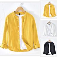 Men's Baggy Collarless T Shirt Linen Tee Hippy Shirts Long Sleeve Tops Blouse UK