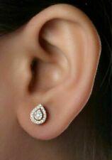 1.50 Ct PEAR Cut Ruby & Diamond Stud Earrings 14k Yellow Gold