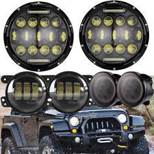 """7"""" LED Headlight Amber Signal Turn Light 4"""" Fog Lamp Set for Jeep Wrangler JK"""