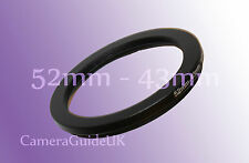 52mm to 43mm 52mm-43mm Stepping Step Down Filter Ring Adapter