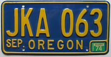 Oregon 1974 License Plate NICE QUALITY # JKA 063