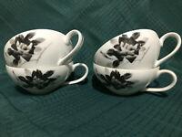 Fukagawa Arita Princess Black Rose w/Silver Trim Tea Cup Set of 4