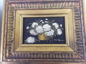 JACK HAMMELL Signed Original Oil On Canvas White Flower Painting Gold Frame