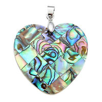 Heart Mother of Pearl Mop Natural Abalone Shell Bead Pendant Necklace Jewelry