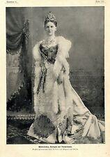 Wilhelmina Reine des Pays-Bas (AVEC COURONNE & Bijoux) c.1904