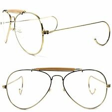 Gold Vintage Retro 80's Aviation Style Flexible Ear Loop Wrap Clear lens glasses