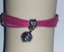 "ROPE SPORTS CHARM BRACELET-6 1/2""-8 1/2""-HOT PINK-VOLLEYBALL - #1"