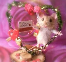 Needle Felt Cupid Mouse Valentine's day Heart Stand by Artist Robin Joy Andreae