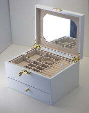 NEW LOCKABLE WOODEN JEWELLERY GIFT BOX IN GLOSSY FINISH MIRROR HS007 WHITE 2.0k