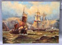 19TH CENTURY VICTORIAN STYLE MARINE SCENE OIL PAINTING by John WILSON