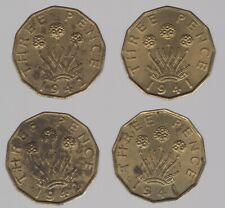 More details for 1941 & 1942 george vi nickel-brass threepence coins | bulk coins |pennies2pounds