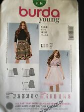 Pattern Burda 7016, misses' skirt, junior, Sz 6-16