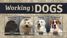 Working Dogs Stamp Sheet (Great Dane/Komondor/Kuvasz/St.B ernard) 2014 Nevis