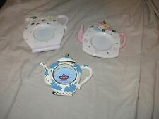 SET OF THREE CERAMIC TEA PITCHER PICTURE FRAMES COTTAGE STYLE SHABBY CHIC